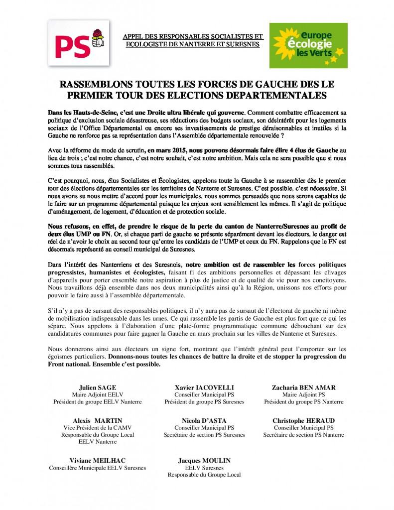 RASSEMBLONS TOUTES LES FORCES DE GAUCHE DES LE PREMIER TOUR DES ELECTIONS DEPARTEMENTALES